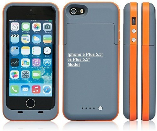 Ultra ® grau und orange Energien-Bank -Aufladeeinheits-Fall für Apple iPhone 6 6s Plus- 6800 Milliamperestunden 5,5