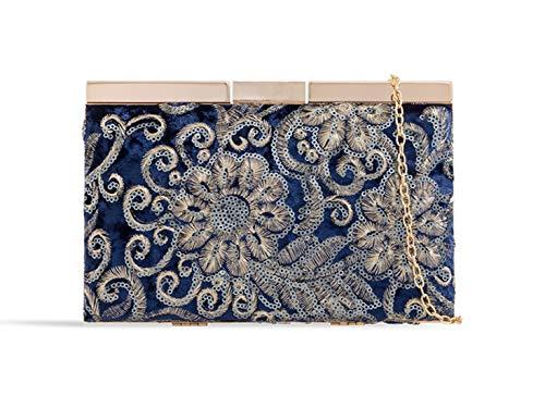 LeahWard Damen Clutch Bag Perlen Hochzeit Handtasche Abend Handtaschen K52 (Dunkelblau)