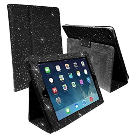 BLACK DIAMOND BLING SPARKLY CRYSTAL PU LEATHER MAGNETIC FLIP CASE COVER STAND SKIN FOR APPLE iPAD 2 / 2nd 3 / 3rd 4 / 4th GEN GENERATION NEW IPAD By Connect Zone ™