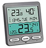 TFA Dostmann Thermomètre de piscine Venise 30,3056,10, pour surveillance de la température de l'eau dans une piscine, bassin ou piscine (gris avec batteries)