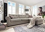 KAWOLA Sofa Romano Ecksofa Posterecke Wohnlandschaft Stoff beige Landhaus-Stil Recamiere rechts 297x87x173 (B/H/T)