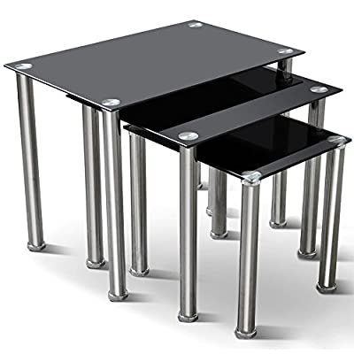 tinkertonk Black Glass Nesting Tables Nest of 3 Tables Chrome Legs Living Room Sofa Side Coffee End Table Set of 3 - cheap UK light store.