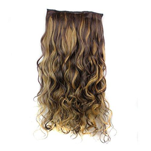 (CLOOM Damen Haare Perücken Frauen Lockiges Haar Perücke Haarteil Clip False Hair Synthetic Hair Extension Curly Heat Resistant Hair Brown Gold Perücke Damen schwarze lockige Perücke (A))