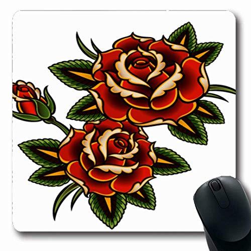 Luancrop Mousepads Sommer-rote Blumen-Tätowierungs-Rosen-rosa Rebe-Dorn-Muster-Rand-Entwurfs-Wellung-rutschfeste Spiel-Mausunterlage Gummilangmatte - Tätowierungen Rose