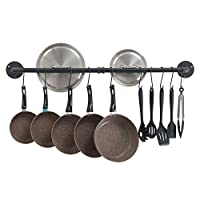 OROPY Wall Mount Pot Pan Bar Rack, 100cm Metal Industrial Style Hanging Rail Kitchen Utensils Hanger Organiser with 14 Hooks, Black