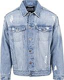 Urban Classics TB1438 Herren und Jungen Jeansjacke Ripped Denim Jacket, Oversize destroyed Look Jacke, bleached, Größe S