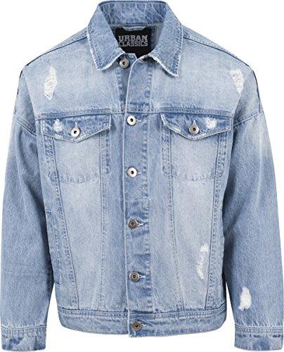 Urban Classics TB1438 Herren und Jungen Jeansjacke Ripped Denim Jacket, Oversize destroyed Look Jacke, bleached, Größe M