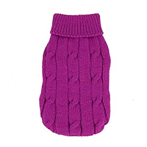 Sourcingmap Twisted Tricot côtelé Manchette Animal au Chaud Apparel Pull, 2 x -Small, Fuchsia