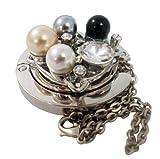 Handtaschenhaken, Tashcenhalter, Taschenhaken, in schönem Silber, Schwarz und Creme