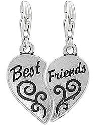 """Sexy Sparkles - Colgante de corazón de 2 piezas con cierre de mosquetón para pulsera o collar, diseño con texto """"Best Friends"""""""