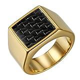 JewelryWe Anello da Uomo Grande in Acciaio Inossidabile e Fibra di carbonio Colore Argento e Oro, Incisione Personalizzato, Regalo