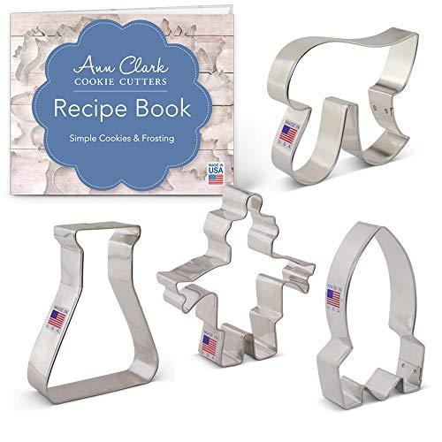 Stem Ausstechformen-Set mit Rezeptheft - 4-teilig - Pi-Symbol, Wissenschaftsflasche, Roboter und Raketenform - Ann Clark - aus USA hergestelltem Stahl (Roboter-cookie-cutter)