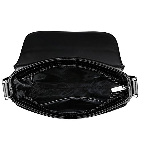 Padieoe Herren Umhängetasche Leder Rucksack Tasche Handtasche Aktentaschen schultasche schwarz schwarz