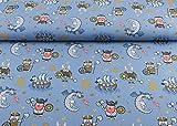 Toller Baumwoll Jersey Stoff mit dem Muster Wikinger und Drachen auf blau   Maße: 25 cm x ca. 145 cm   1A ÖKO-TEX Qualität I