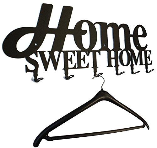 steelprint.de Wandgarderobe, Flurgarderobe Home Sweet Home Design 58 cm, 6 Haken Metall (schwarz) Hakenleiste, Garderobenleiste, Garderobenhalter, Kleiderhaken, Garderobe