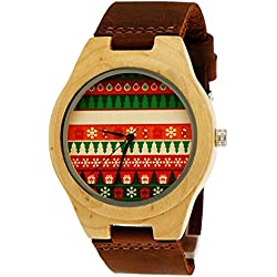'Pure Time® Designer Unisex Organic Natural Wood Leather Watch in Brown, Cool Christmas/Christmas Limited Edition + Watch Box
