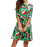 VEMOW Herbst Elegante Damen Mode Halbe Hülse Weihnachtskatzendruck Vintage Lässig Tägliche Party Schaukel Minikleid 2018(Grün, EU-36/CN-M