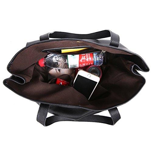 Leathario sac femme sac à main pour femme sac bandoulière cuir véritable sac à épaule sac loisirs sac shoppings pour femmes Noir 1