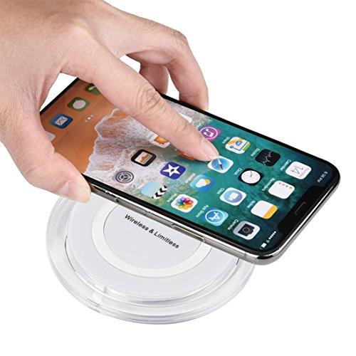 NEU Mini Wireless Ladegerät Pad sunnymi 2018 Ultra Dünn Acryl QI Wireless Ladegerät Lade Pad Mat für Iphone 8/8 Plus / X (Weiss, 100-200kHz) 200 Khz Gps