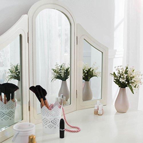 TecTake Schminktisch weiß mit Hocker und 3 Spiegeln aus Holz, geräumige Schublade zur Aufbewahrung von Kosmetik und Haarpflegeprodukten - 6