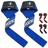 Profi Zughilfen (gepolstert) 60cm [inkl. gratis Trainings- und ErnährungsGuide] mit SnakeGrip - für Krafttraining, Bodybuilding & Fitness - Lifting Straps für Frauen & Männer