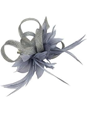 Tocado de plumas para mujer, tela de sinamay, accesorio de bodas con flores y broche para el pelo
