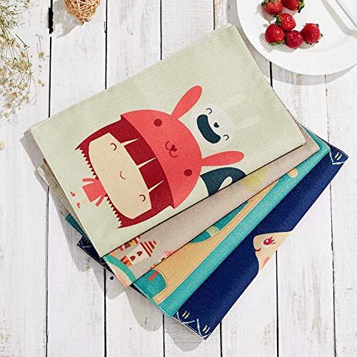 Tovagliette all' americana in cotone con tasca lavabili tovagliette per bambini 43,2 x 33 cm (4 pcs)
