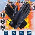 Ryegf_Beheizte Handschuhe, Elektrische Thermohandschuhe Wiederaufladbarer Touchscreen Wasserdichte PU-Leder Winterhandschuhe für Outdoor-Aktivitäten, Temperatur einstellbar von Ryegf - Outdoor Shop