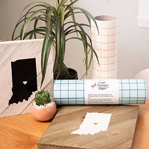 TRANSFER PAPIER mit Gitterraster – 30.5 cm x 2.4 m Rolle – Perfekt für Vinyl Klebefolien von CRICUT, CAMEO u.a. – Perfekt für Wände, Schilder, Aufkleber, Fenster und glatte Oberflächen - 3