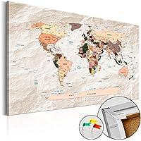 murando - Cuadro - Tablero de corcho 90x60 cm - Cuadro sobre corcho - Poster Mundo Mapa Mapa del Mundo Continente - k-C-0053-p-b