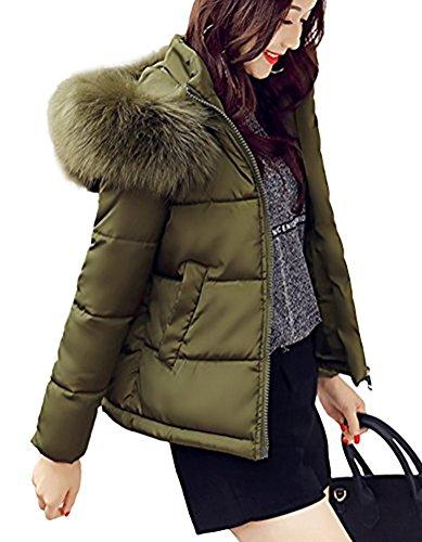 Ghope Fell Kragen Kapuze Damen Winterjacke Windbreaker warm gefüttert Winter Parka Jacke kurz Mantel Kunstpelz Futter GHWM08 (DE 32, Stil 1)