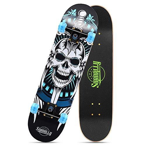 NENGGE Classics Cruiser Skateboard, Retro-Board Konkave Deckform mit Doppel-Kick Komplettes Skateboard Belastung 150KG, für Erwachsene Kinder Jungen Mädchen,Skull