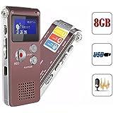 ELEGIANT R29 Grabadora de Voz Digital Display OLED 8GB USB MP3 Reproductor Dictáfono para La Reunión, Memoria, Regalo con Micrófono Incorporado ,Función de Reducción de Ruido y Grabación Activada Café