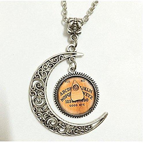 Charm Crescent Moon Monogramm Ouija Board Initialen-Anhänger Halskette personalisierte Alphabet Glaskuppel Jewelry Charm rund Kreis
