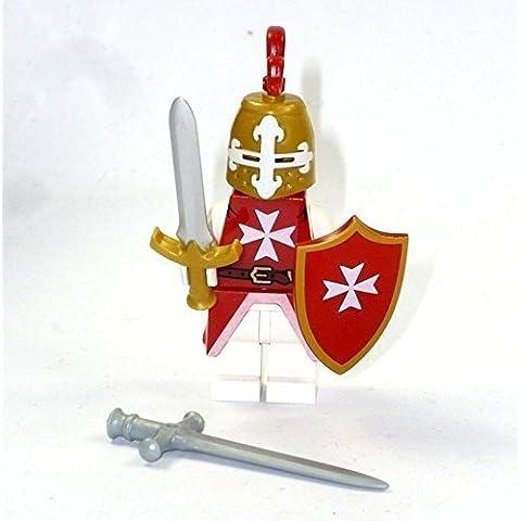 Rosso Cavaliere da LEGO® Parti e Personalizzato Accessori come Spada Elmo Armatura BF