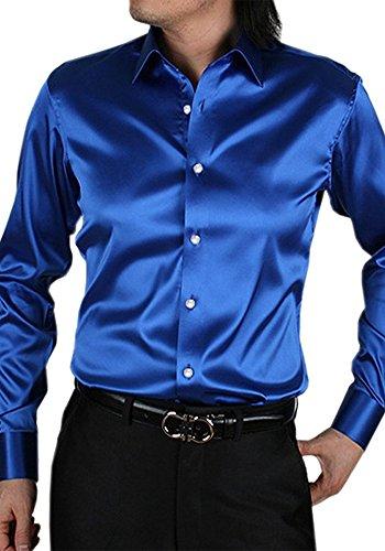 Dooxiundi uomini è colore solido ballo ballo camicia (s, blu)