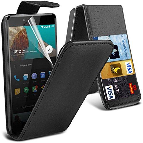 OnePlus X-Etui (Schwarz) Slim-Fit-Abdeckung für OnePlus X hülle Tasche Haltbarer S Linie Wellen-Gel-Kasten-Haut-Abdeckung + LCD-Display Schutzfolie, Poliertuch Leather Flip ( Black )