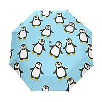 Jeansame Cute Winter Penguin Animals Folding Compact Umbrella Automatic Sun Rain Umbrellas for Women Men Kid Boy Girl