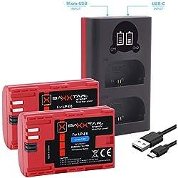 Baxxtar Pro (2X) Compatible avec Batterie Canon LP-E6 - et Mini 1854 LCD Dual Chargeur (entrée USB-C et MicroUSB)