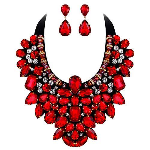 Flyonce Damen Kristall Retro Kostüm Aussage Halskette Ohrringe Set für Bankett, Prom Rot Gold-Ton