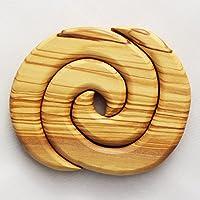 Topfuntersetzer aus Olivenholz 2-teilig | Spiralform rund | Handarbeit | Topfuntersetzer aus Holz