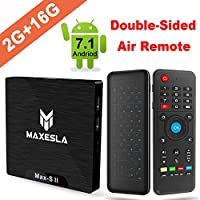 Smart TV BOX Android 7.1 - Maxesla MAX-S II Mini TV Box de 2GB RAM + 16GB ROM, 2018 Última CPU Amlogic S905W, WIFI 2.4GHz, Doble USB, H.265, HDMI & AV, 4K UHD TV Box + Teclado QWERTY con Ratón Aire