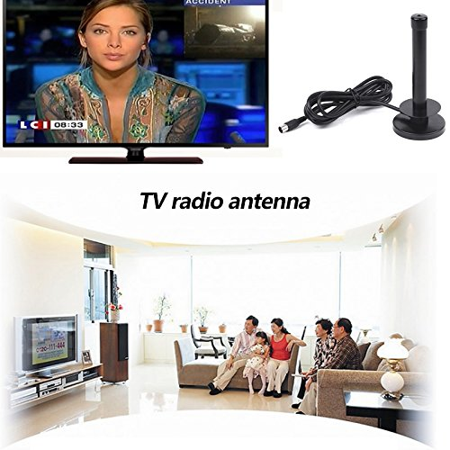 Hanbaili DVBT2 TV Radio Antenne, Indoor / Outdoor Kompakt Tragbare DVB T2 HD TV Radio Antenne Digital Antenne Magnetfuß Signal Booster Verstärktes VHF / UHF - Atsc, Analog-tv-tuner