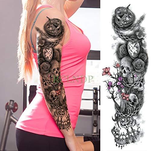 HXMAN Wasserdichte Temporäre Tattoo Aufkleber Voller Arm Big Old School Cool Girl Tatto Ärmel Flash Tatoo Fake Tattoo Für Männer rosa