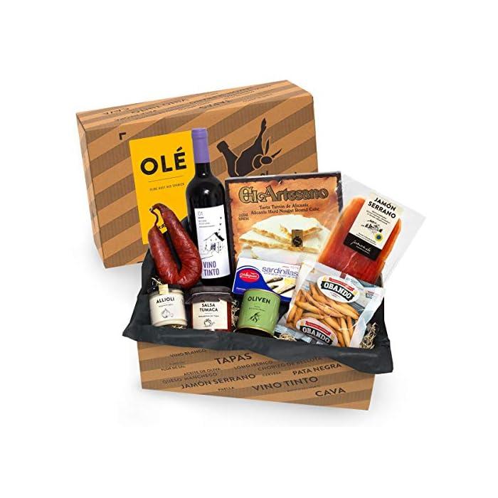 Geschenkkorb Olé mit spanischen Delikatessen I Präsentkorb gefüllt mit ausgesuchten Tapas-Klassikern & Rotwein aus…
