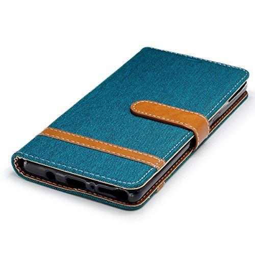 Hülle für Samsung Galaxy Note 8, Tasche für Samsung Galaxy Note 8, Case Cover für Samsung Galaxy Note 8, ISAKEN Farbig Blank Muster Folio PU Leder Flip Cover Brieftasche Geldbörse Wallet Case Ledertas Leinen Grün