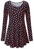 KorMei Damen Swing A-Linie Asymmetrisch Blumen Stretch Langarmshirt Hemd Tunika Blau&Orange 2XL