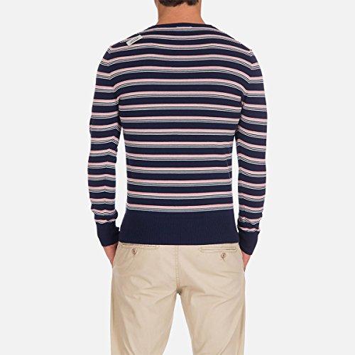 Oxbow Mann Gestreifter Pullover, Reine Baumwolle Marine gestreift/Rosa