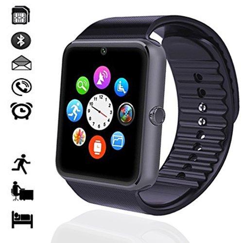 MallTEK Smartwatch Bluetooth mit TF SIM-Kartenslot, Smart Uhr 1.54 Zoll, Sport-Armband mit Whatsapp, Funktionen Kamera, Schrittzähler, Schlafmonitor, Fernbedienung Kamera, Smart Watch Uhr für Huawei, Xiaomi, Doogee, Samsung, Lenovo, Sony, HTC und andere die meisten Android Handy Smartphone (Schwarz) (Uhr-handy Android Gsm)