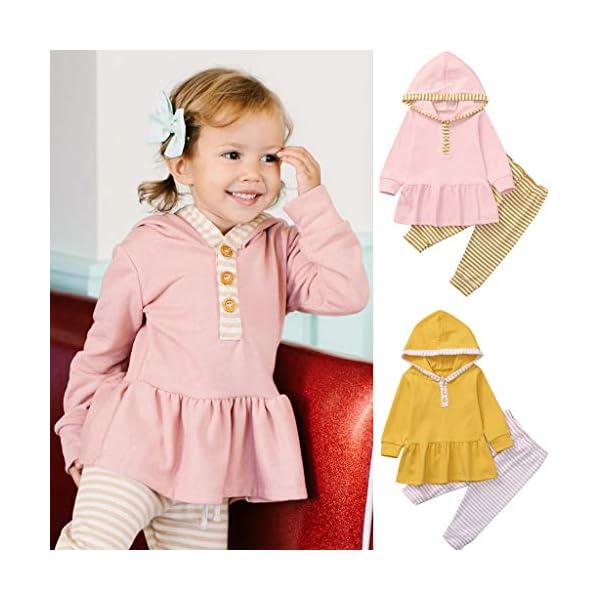 Body para bebés y niños pequeños Tops de Volantes sólidos con Capucha para bebés y niños pequeños + Pantalones de Rayas… 2